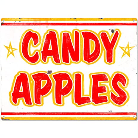 Amazon.com: Candy Apples Carnival Treat Metal Sign Rustic Wall Decor ...