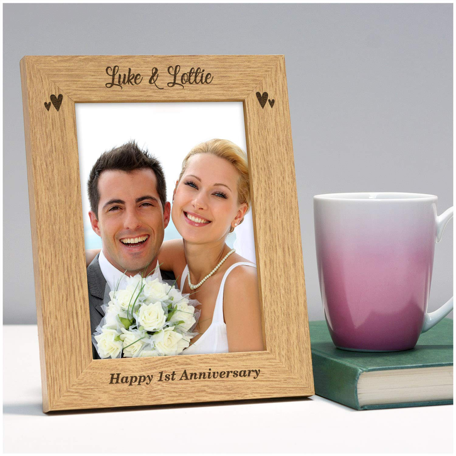 25th 1st 5th Engraved Wooden Anniversary Picture Frame Gifts for Couples Personalised Happy 1st Anniversary Photo Frame Gifts 50th ANY Anniversary Husband 10th 40th Wife 30th