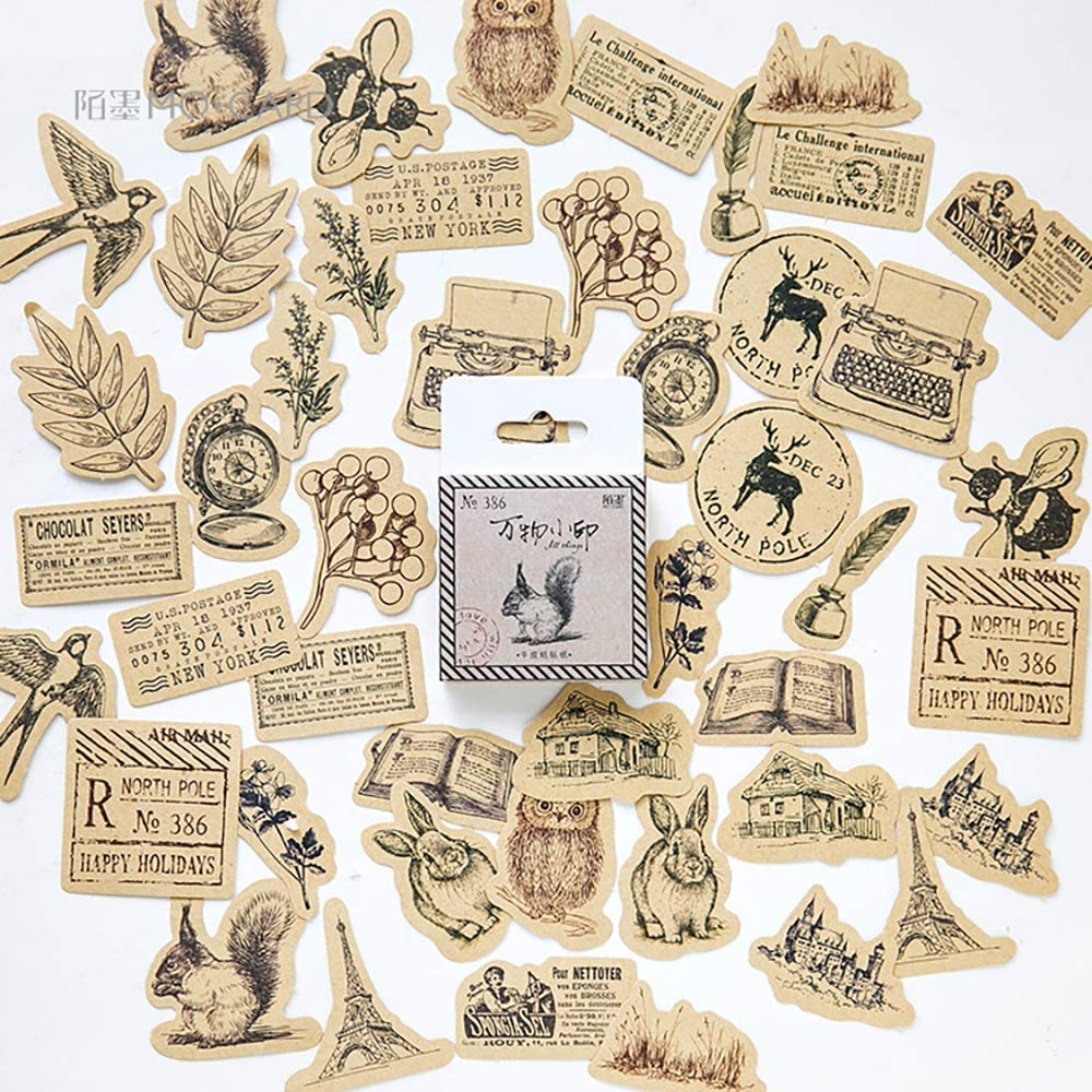 Small Size Scrapbook Cards Stickers, 45pcs Doraking Boxed DIY Decoration Animals Plants Stickers for Laptop, Cards, Scrapbook, Suitcase, Diary, Notebooks, Album(Forest Signet, 45pcs/ Box)