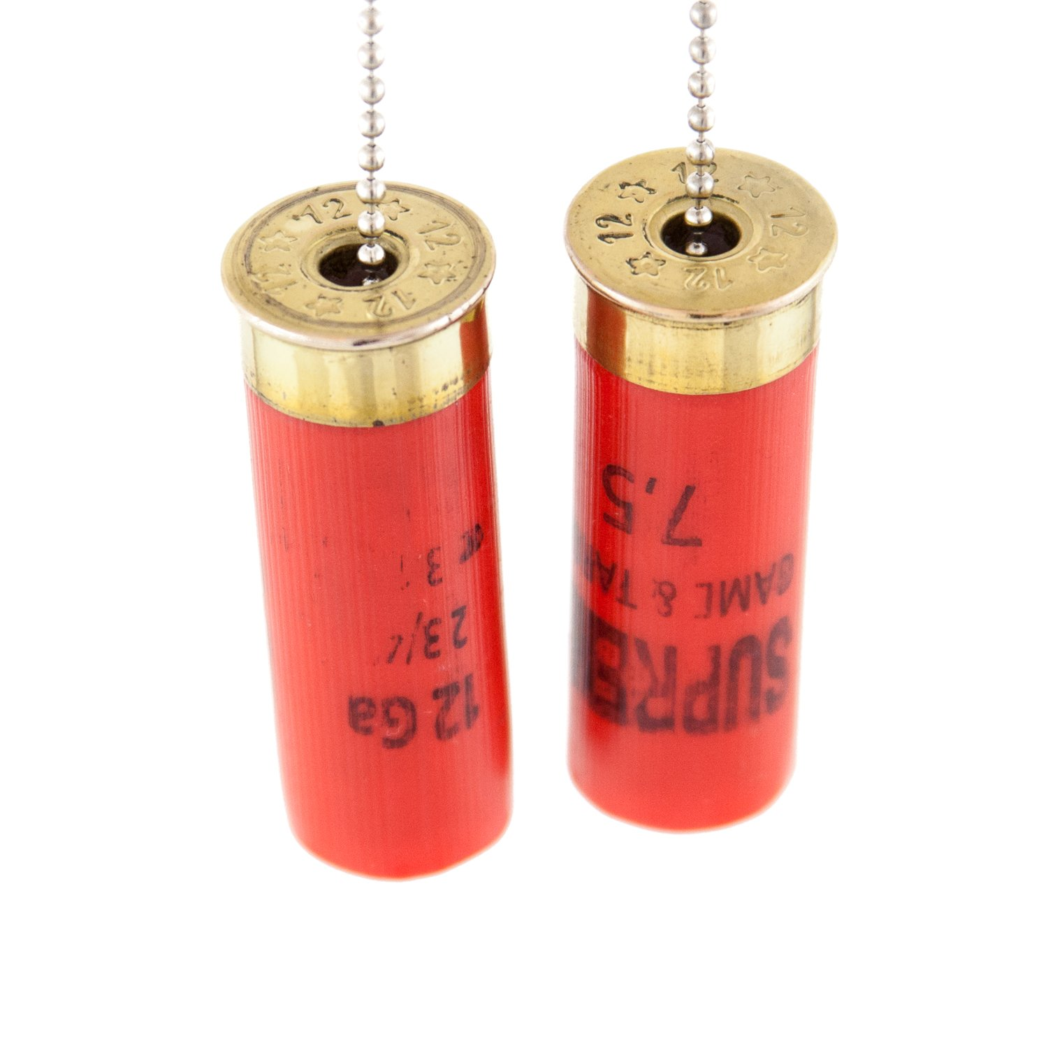 Real 12 Gauge Shot Gun Shell Light or Fan Pulls Made in the USA - Set of 2