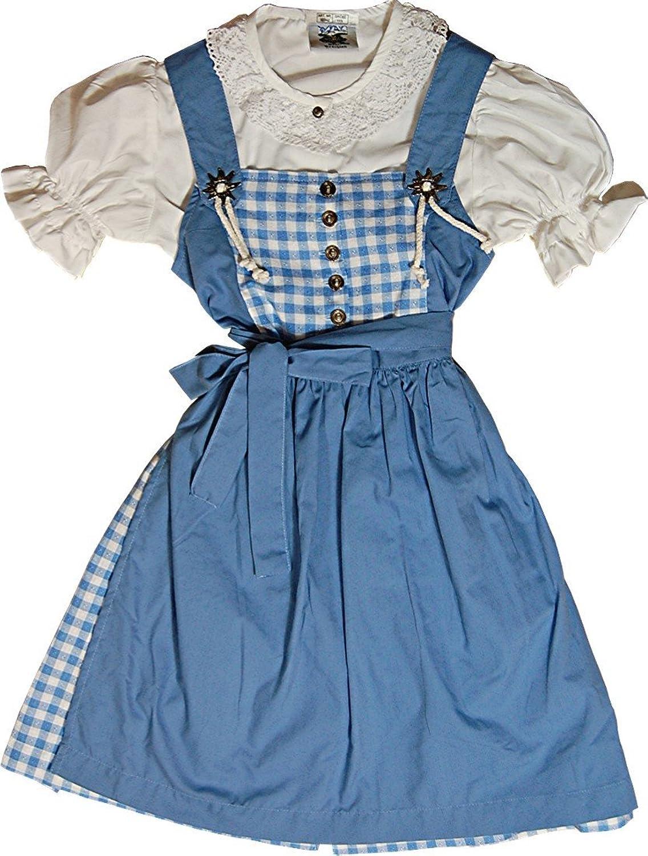 Süßes Kinderdirndl JULCHEN mit Edelweiß rosa oder blau, 3tlg. Komplett-Set - Farbe wählbar -