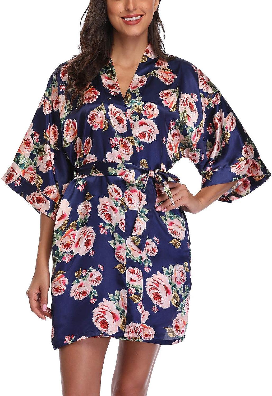Women's Satin Floral Kimono...
