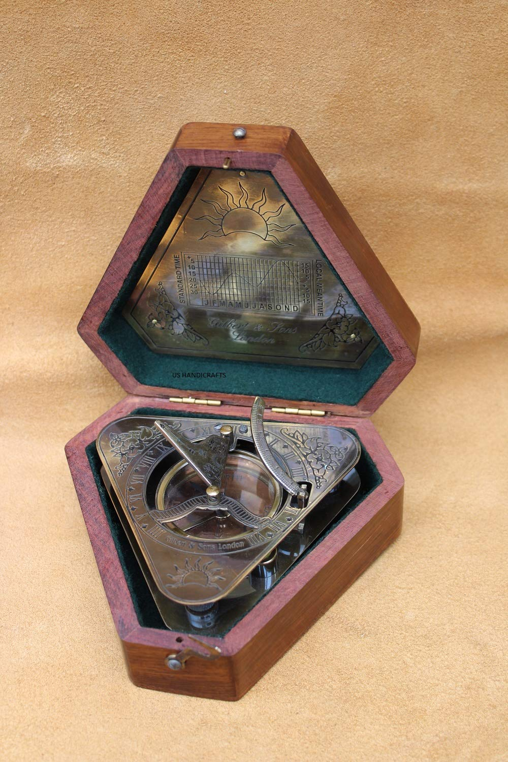 US Handicrafts History Brass Triangle Sundial Compass in Hardwood Box. by US Handicrafts (Image #6)