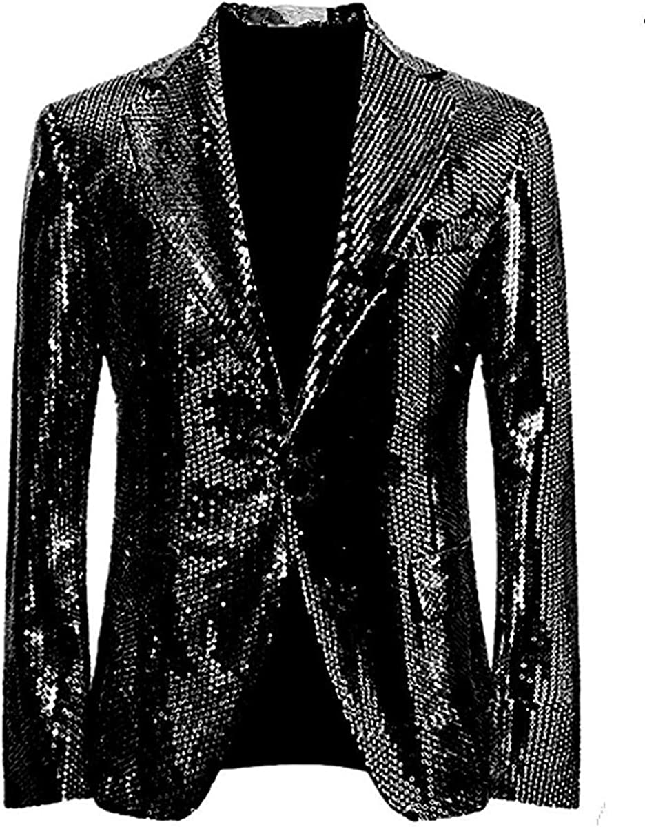 Leader of the Beauty Mens Sequin One Button Blazer Slim Fit Jacket Shiny Tuxedo Suits Jacket
