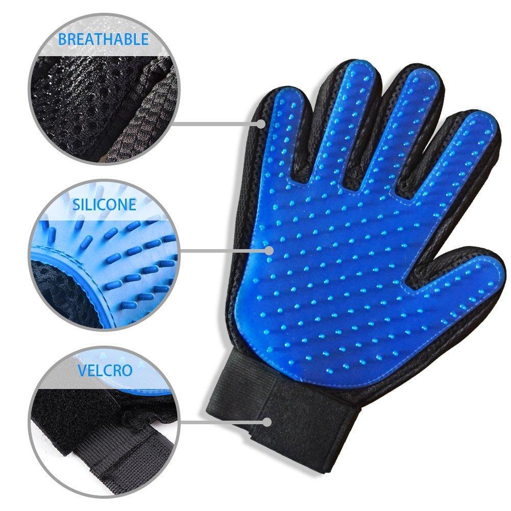 Amazon.com : Pet Grooming Glove - Gentle Deshedding Brush ...