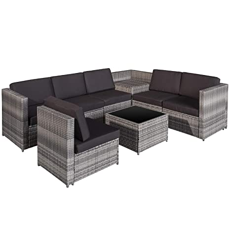 89e0e486c66b Outsunny 8 pcs Rattan Garden Furniture Patio Sofa and Table Set with  Cushions 6 Seater Corner Wicker Seat - Grey: Amazon.co.uk: Garden & Outdoors
