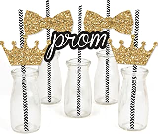 product image for Prom - Paper Straw Decor - Prom Night Striped Decorative Straws - Set of 24