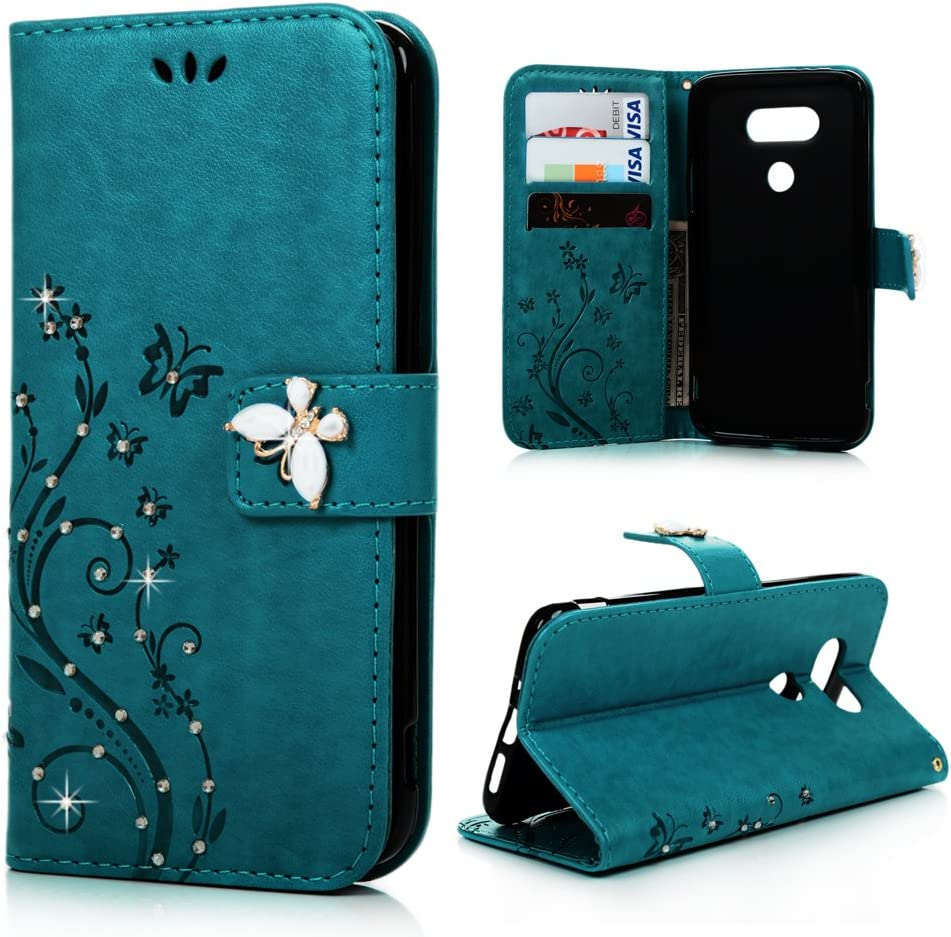 MOLLYCOOCLE LG G5 Wallet Case, PU Leather Bling Crystal Diamonds Butterfly Embossed Florals Kickstand Magnetic Flip Case Card Holders Slots Hand Strap Case Cover for LG G5 - Blue