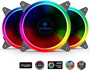 anidees AI Aureola V2 120mm 3pcs Adressable RGB PWM Fan Compatible with ASUS Aura SYNC/MSI Mystic/GIGABYTE Fusion MB with 5V 3pins Header, for case Fan, Cooler Fan, with Remote(AI-Aureola-V2)