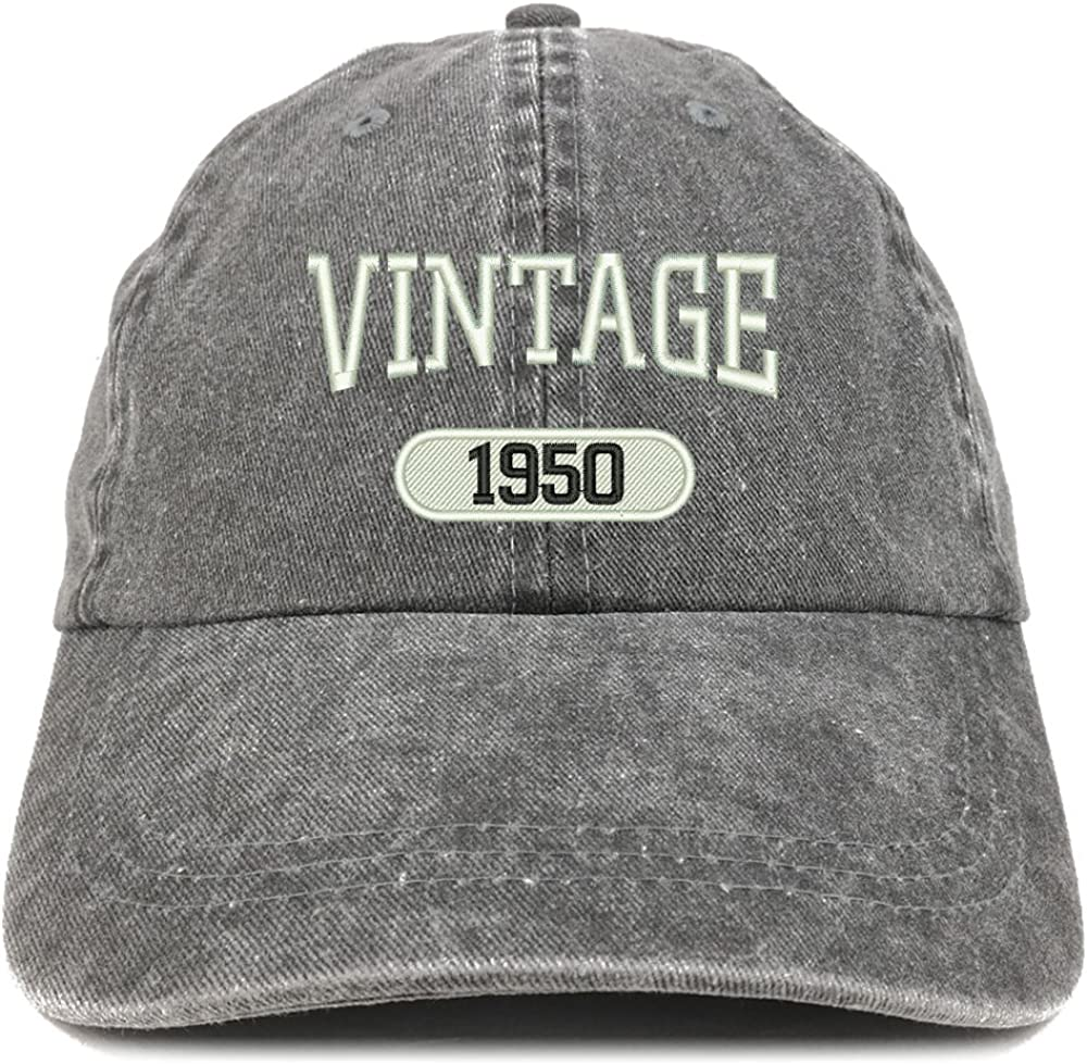 Trendy Apparel Shop Vintage 1950 Embroidered 70th Birthday Soft Crown Washed Cotton Cap