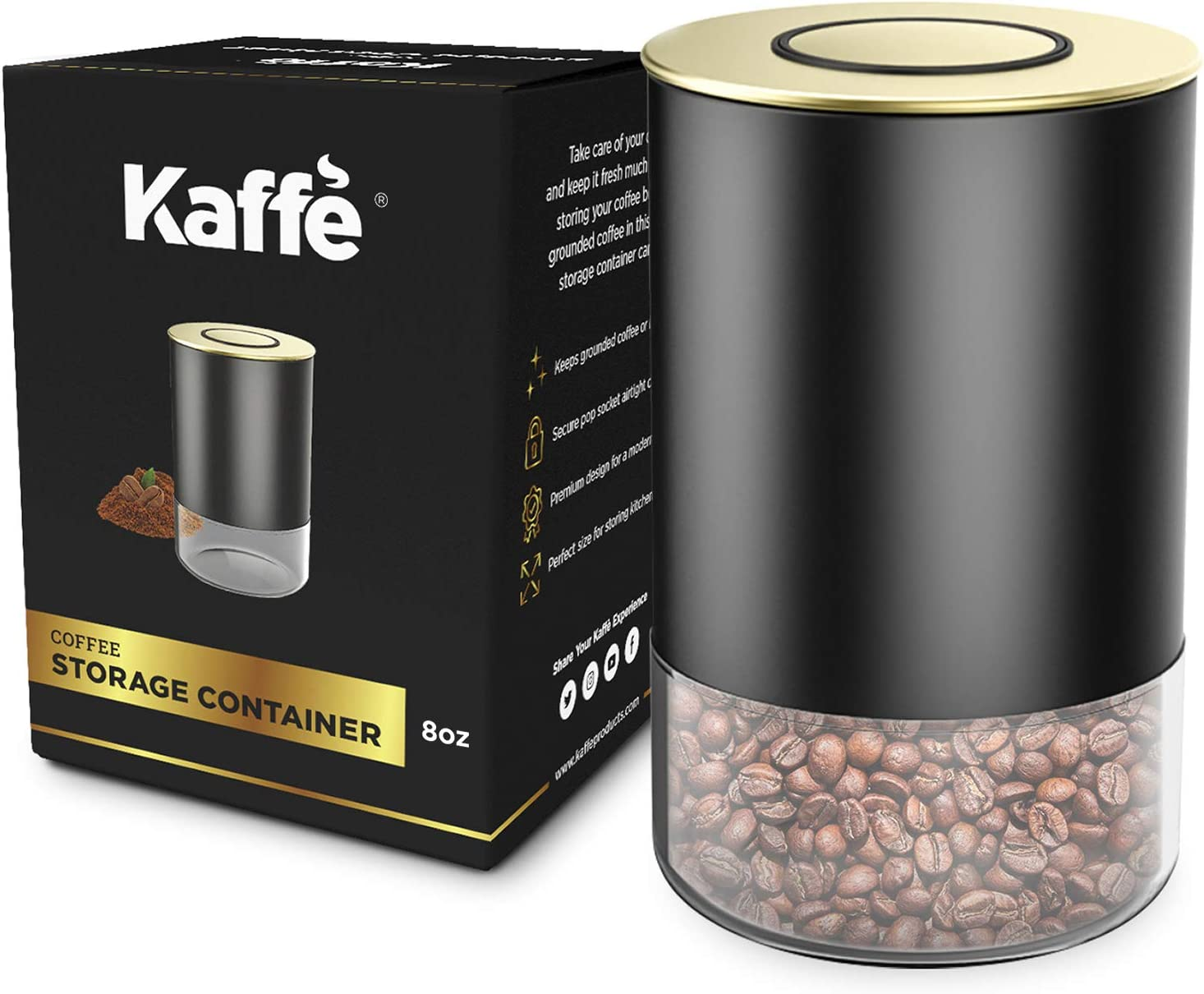 Glass Storage Coffee Container by Kaffe - BPA Free Stainless Steel Canister with Airtight Lid (8oz)