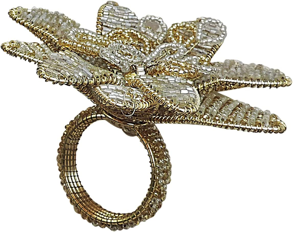 Trunkin Set of 4 Gold Silver Colored Iron/Glass Double Bead Flower Napkin Rings for Dinner Table Decoration | Parties, Holidays, Weddings | Banquet Table Décor | Casual/Formal Occasions | Home Décor