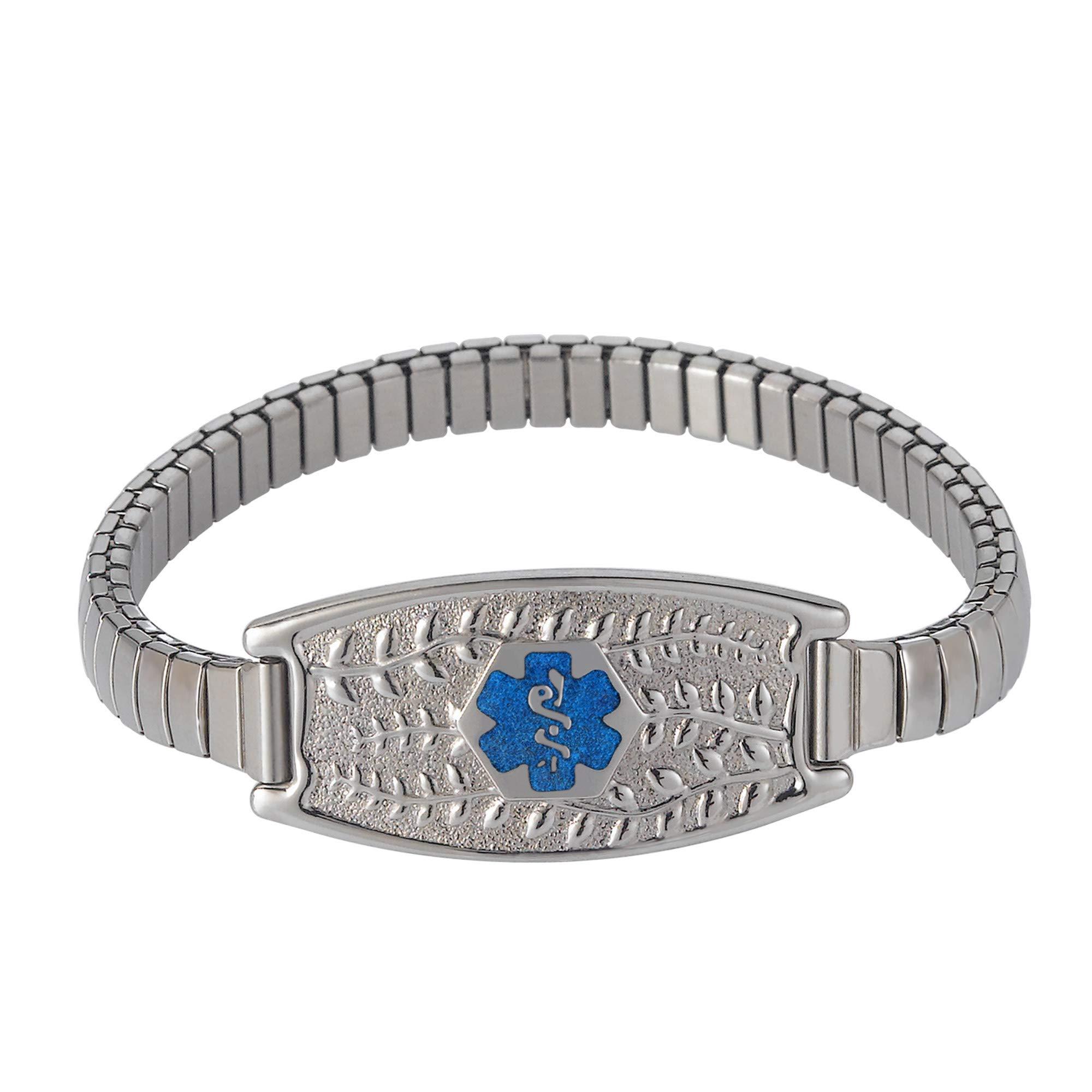 Divoti Deep Custom Laser Engraved Beautiful Olive Stretch Medical Alert Bracelet w/Free Engraving - 7.5'' Band for 6.5-7.5'' Wrists-TP Blue