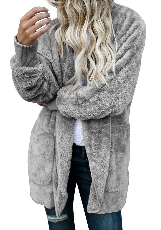 PiePieBuy Women Winter Warm Open Front Hooded Sherpa Caridgan Jacket Outerwear Coat Loose Style