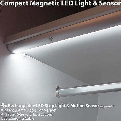 4 tiras de luces LED magnéticas recargables y con sensor de movimiento automático PIR – armario