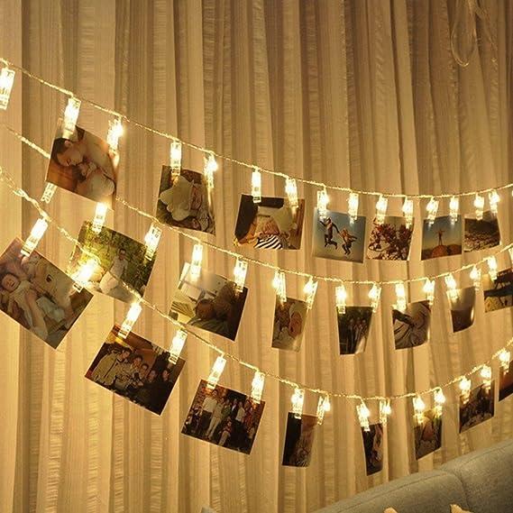 LED Foto Clips Cadena de Luces, Morbuy Guirnalda de Luces USB Guirnalda Luminosa Decoración Interior Habitación Fiesta de Navidad notas Halloween ...