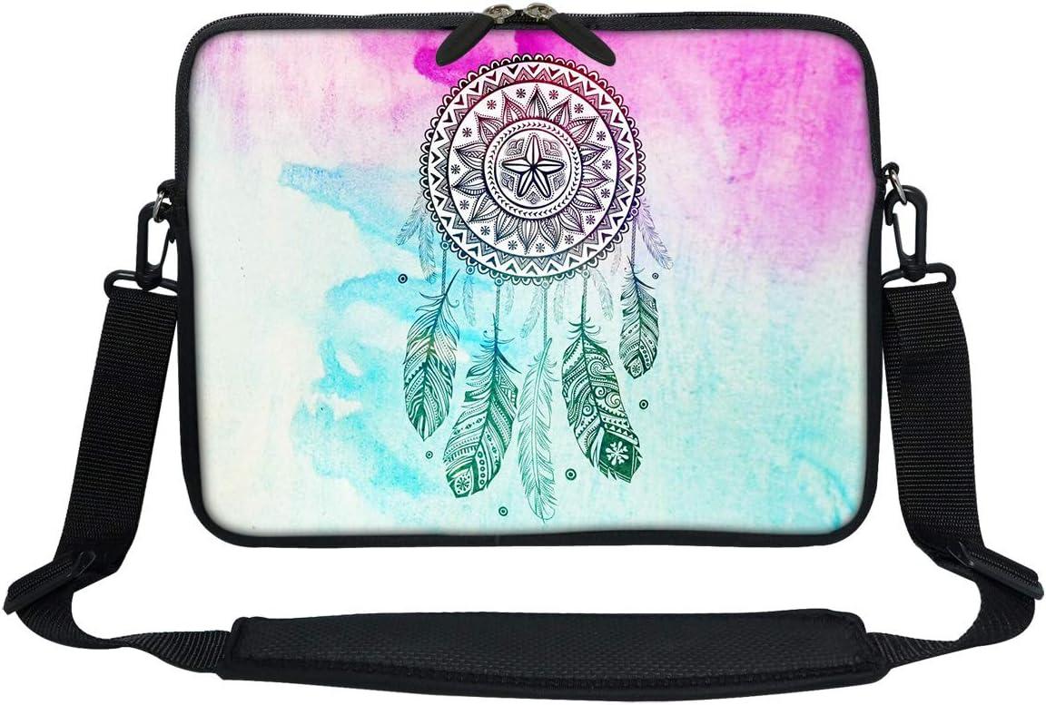 Meffort Inc 11 11.6 12 Inch Neoprene Laptop Sleeve Bag Carrying Case with Hidden Handle and Adjustable Shoulder Strap - Dream Catcher