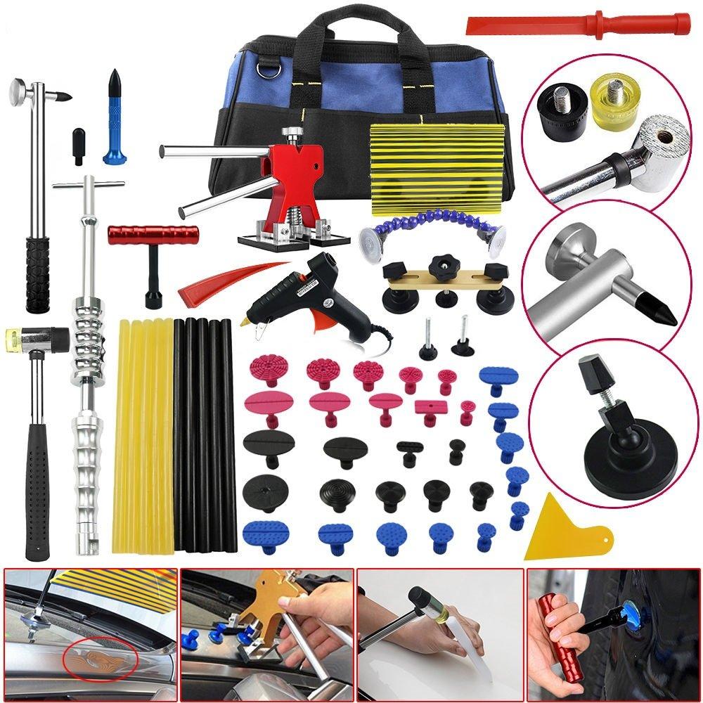 Dent Repair Kit Tool Box Puller PDR Tools - Paintless Dent Repair Tools Automotive Car Ding Hail Hammer Lifter Set - Skroutz