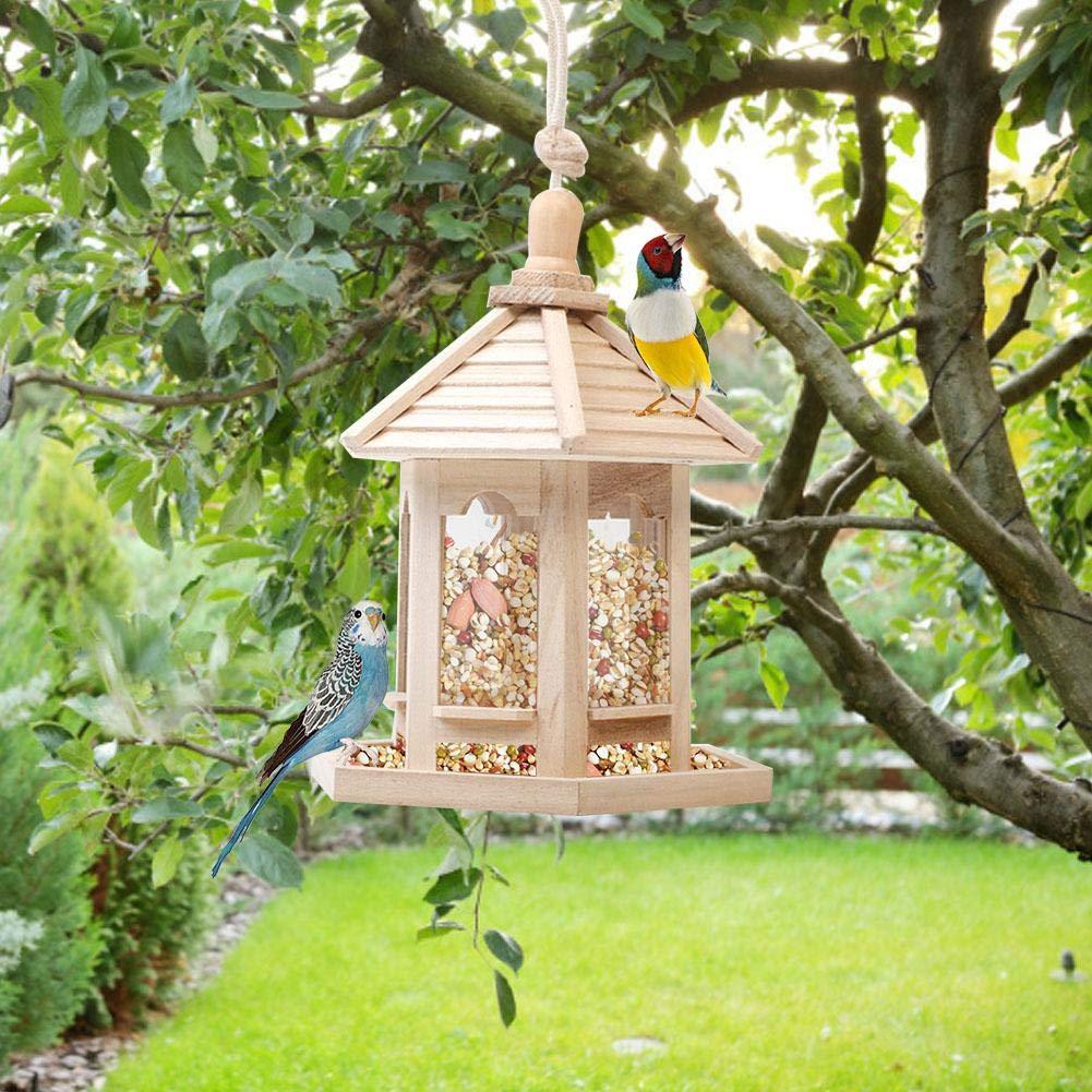 Dispenser di mangime per nidificazione per Uccelli da Giardino Tenere Circa 1000 ml di Semi 20 x 20 x 26 cm Bird House vogueyouth Mangiatoia per Uccelli Selvatici a Torre in Legno