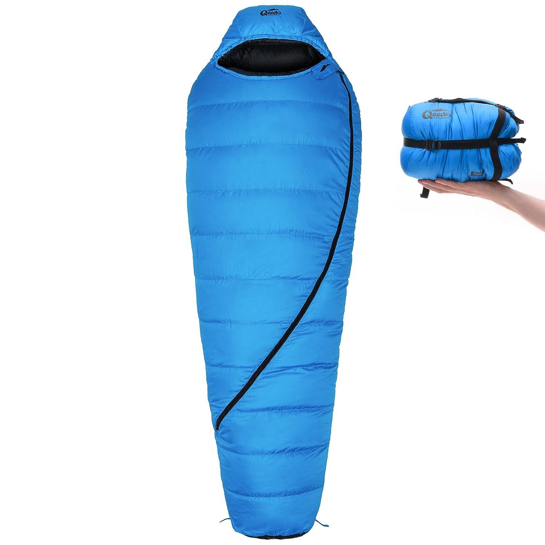 Qeedo Takino Saco de Dormir de plumón (2 tamaños : M & L) - Azul: Amazon.es: Deportes y aire libre