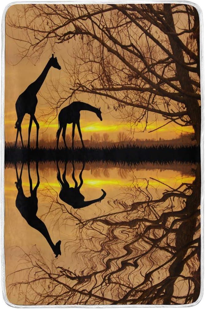 Amazon Com Wihve Bedding Blanket Throw Size Giraffe In African Forest Sunset Bed Blanket Soft Fuzzy Microfiber Blanket 60 X 90 Inch Home Kitchen