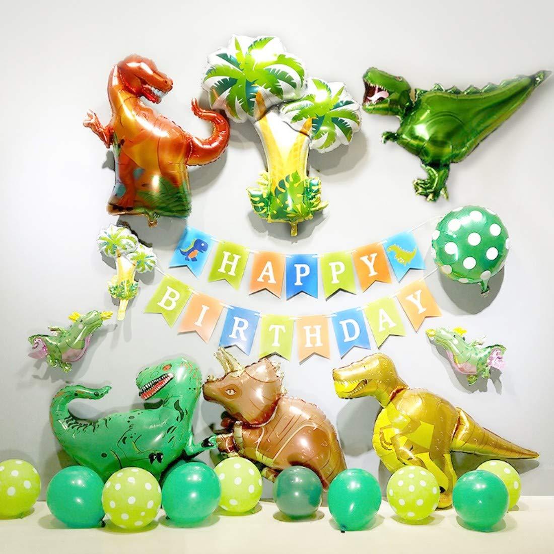 kungfu Mall 1 Unidades Fiesta de cumpleaños de Globos de Dinosaurio Decoración con Globos Ins Lujoso Conjunto Feliz CUMPLEAÑOS Banners- de 42pcs