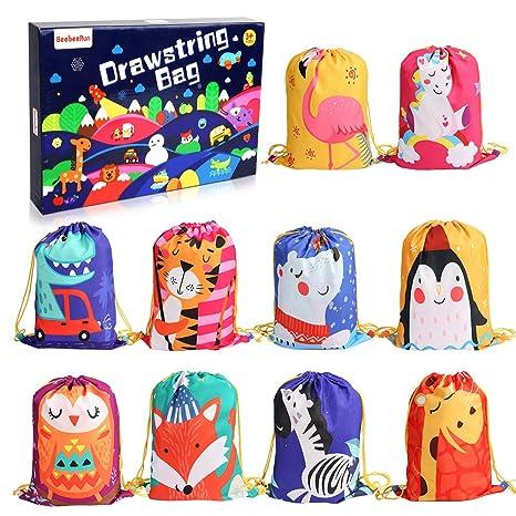 BeebeeRun 10Pack Bolsas de Cuerdas para Infantil,Mochila con Cordón Niños Bolsas Regalo Cumpleaños Deporte Gimnasio Backpack para Niños Niñas Fiesta ...