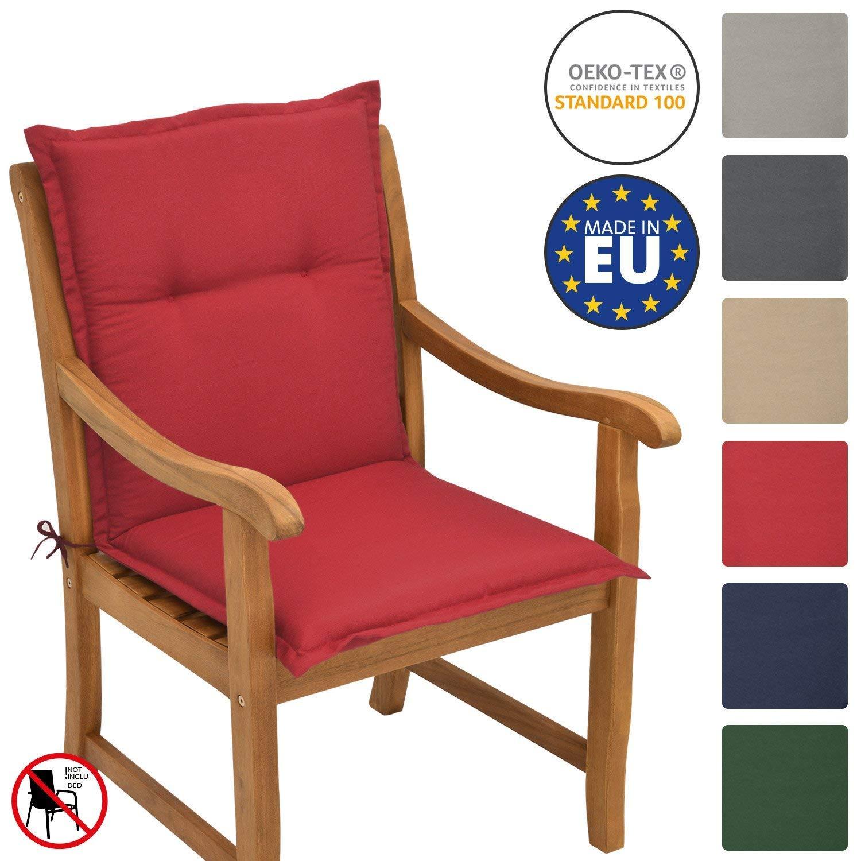 Beautissu Loft NL Elegante cojín Asiento Exterior Respaldo bajo 100x50x6 cm Relleno Placas de gomaespuma Rojo