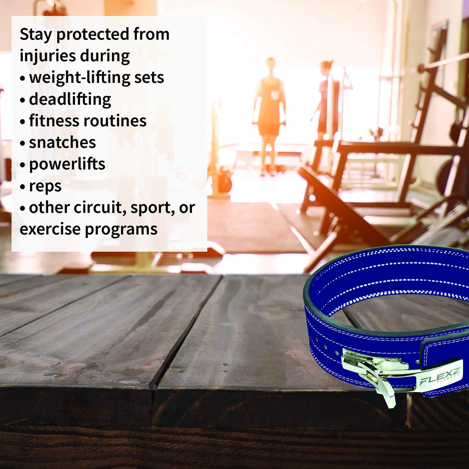 Flexz Fitness Lever Buckle Powerlifting Belt 10mm Weight Lifting Blue X Large by Flexz Fitness (Image #5)