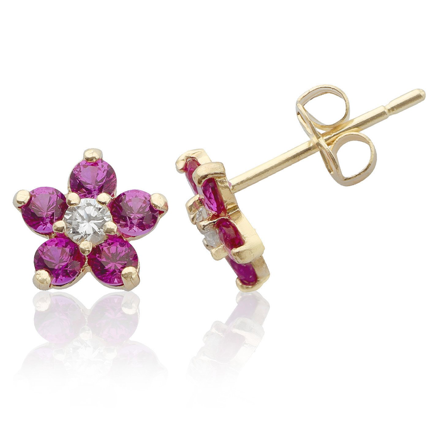 14k Yellow Gold Red and White CZ Flower Stud Earring for Women and Girls Jewel Connection OC24917