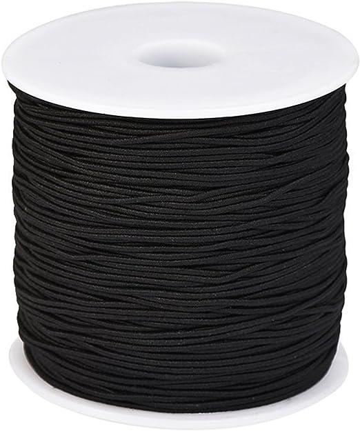 Trimming Shop Hilo de coser elástico Negro de 1 mm de ancho para ...