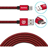 USB Type C Cable RENYANG 6.6ft C to USB A 2.0 Nylon Braided Fast Sync Charger Cord for Nexus 6p Nexus 5x Lumia 950xl 950 LG G5 OnePlus 2 Nokia N1 ZUK Z1 Apple Macbook and More (Red Black)