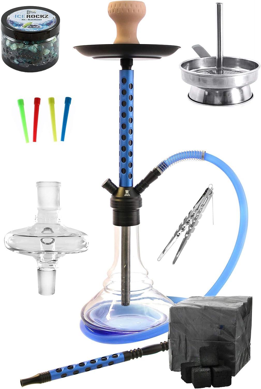 Kaya-Shisha Eco 590 Aludots Shisha-Set Completo con shisha carbón pasta de vapor melaza receptor boquillas desechables accesorio de chimenea pinzas de carbón (Azul)