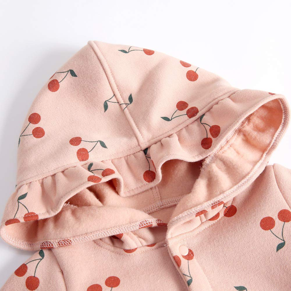 Sanlutoz Cotton Cherry Printing Baby Girls Romper Cute Winter Baby Bodysuits Newborn