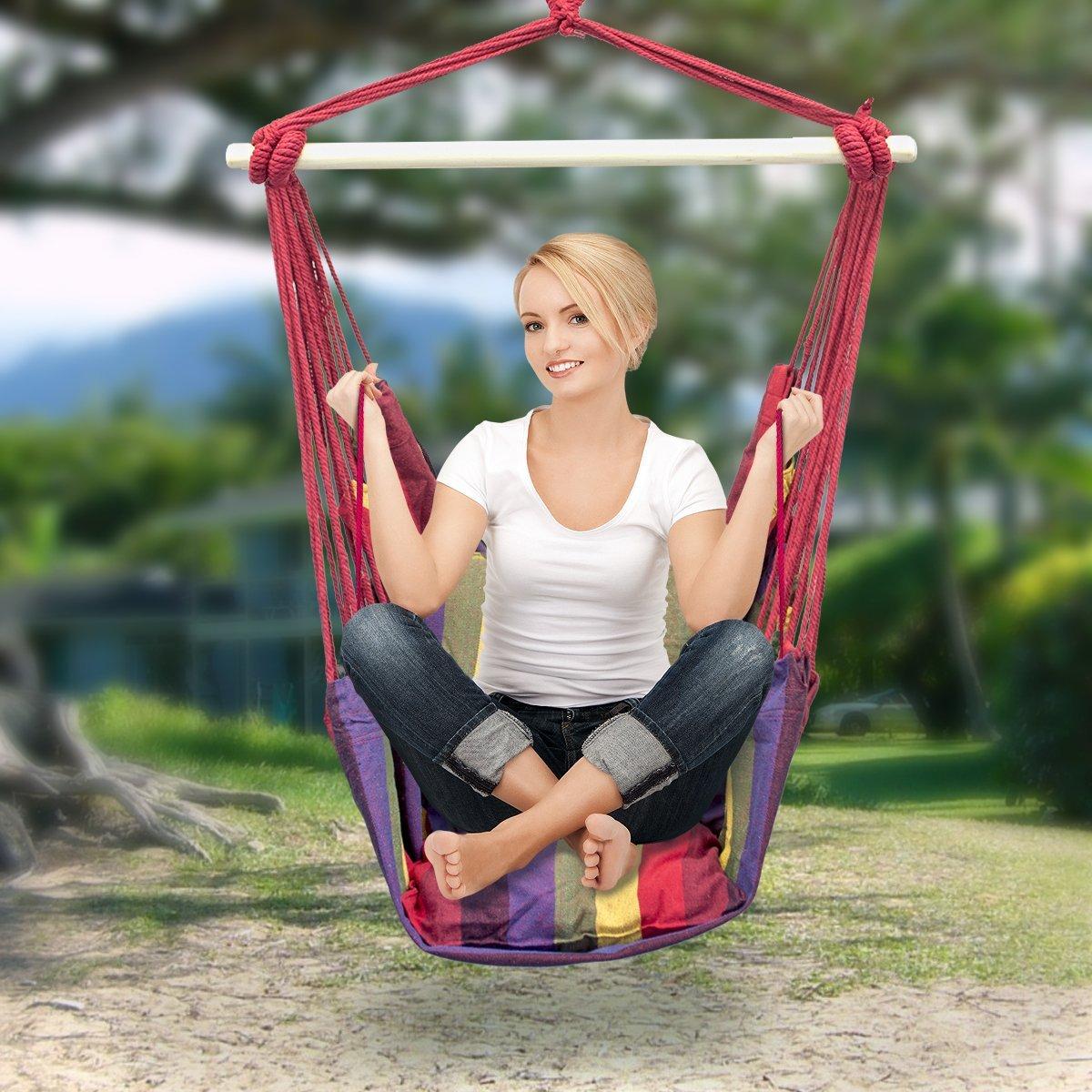 Amazon.com: Sorbus Hanging Rope Hammock Chair Swing Seat For Any Indoor Or  Outdoor Spaces: Garden U0026 Outdoor