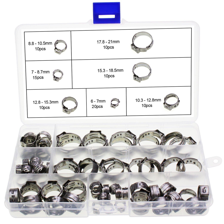 HSeaMall - Juego de 85 abrazaderas de una oreja para manguera de 7 a 21 mm, ajustables, de acero inoxidable, con pinzas para sujetarlas