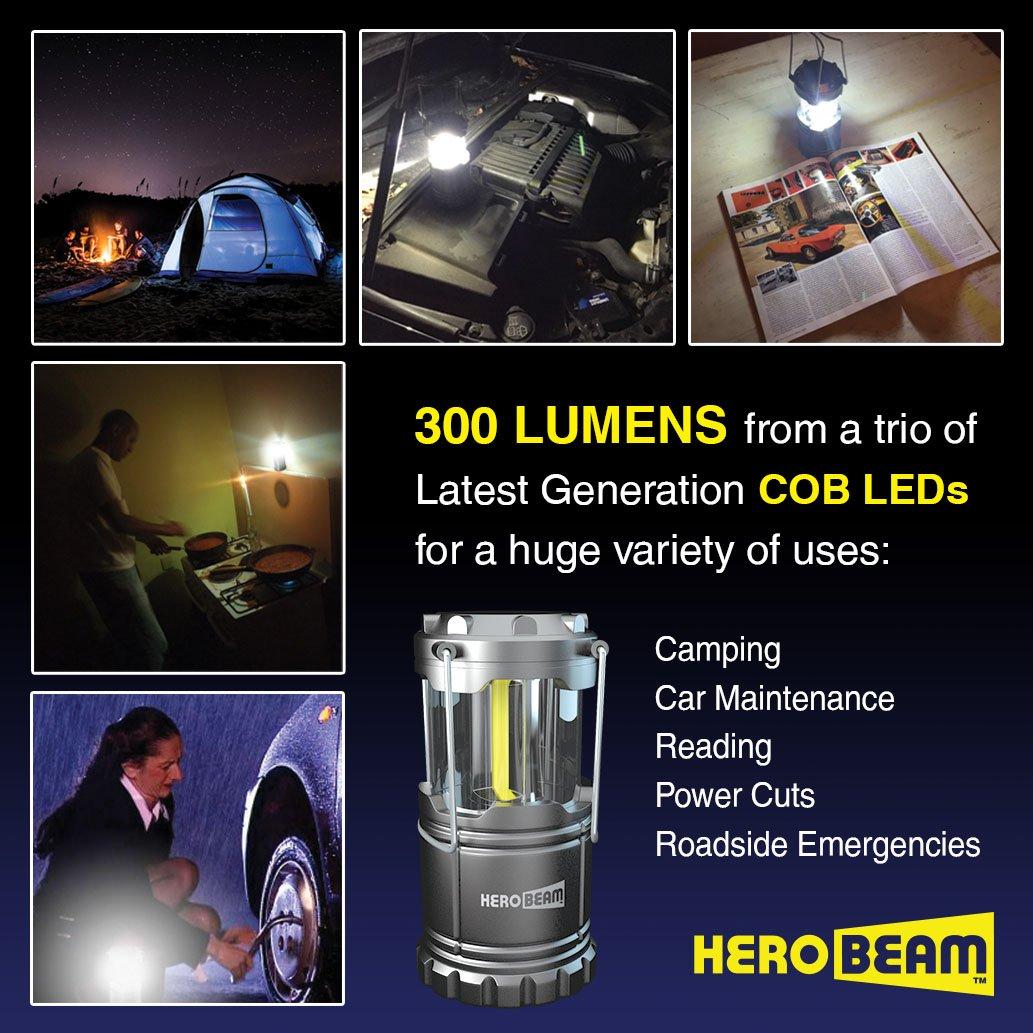 les cabanons Lampes pliables r/ésistantes les combles 2 x Lanterne HeroBeam LED Bien pour les caravanes Technologie COB /émet 300 LUMENS ! les garages et les coupures de courant Batteries incluses