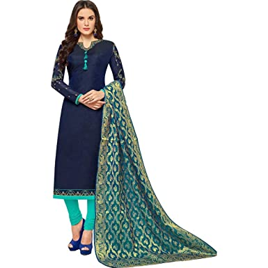 16f03ef765 M F Women's Chanderi Embroidered Salwar Suit with Banarasi Dupatta (Navy  Blue and Turquoise, Free