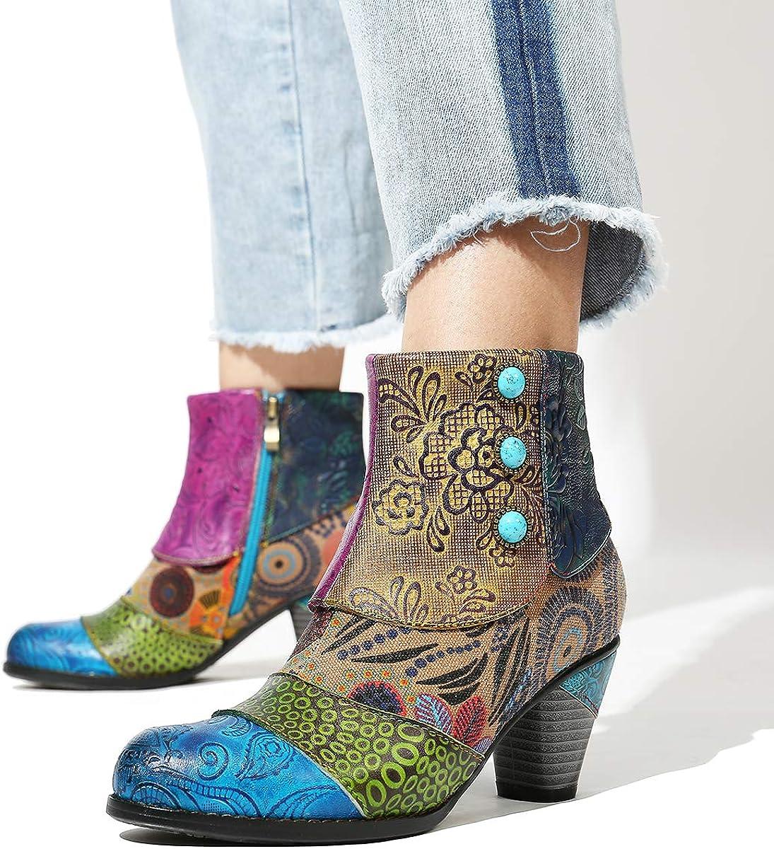Camfosy Botines Tacones de Cuero, Zapatos de Invierno Tacón Alto Botas Vaqueras cómodas Botas con Cremallera Vestida Color Original Bohemio 2019 Azul vyT93