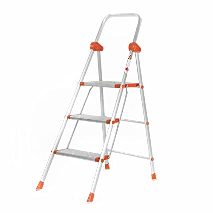 Bathla Sure Step Excalibur - Super-Wide 3-Step Foldable Aluminium Ladder 85 cm (2.8 ft.) for Home Use with 5-Year Warranty