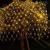 Quace LED Fairy String Decorative Net Lights Net Mesh Tree-wrap Lights Low Voltage for Christmas Wedding Garden Outdoor Decorations Warm White 96 LEDs 1.5m x 1.5m
