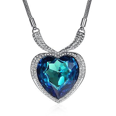 GoSparking Ocean Gold grande azul corazón titánico cristalino 18K blanco plateado Collar pendiente de la aleación con el cristal austríaco para las mujeres
