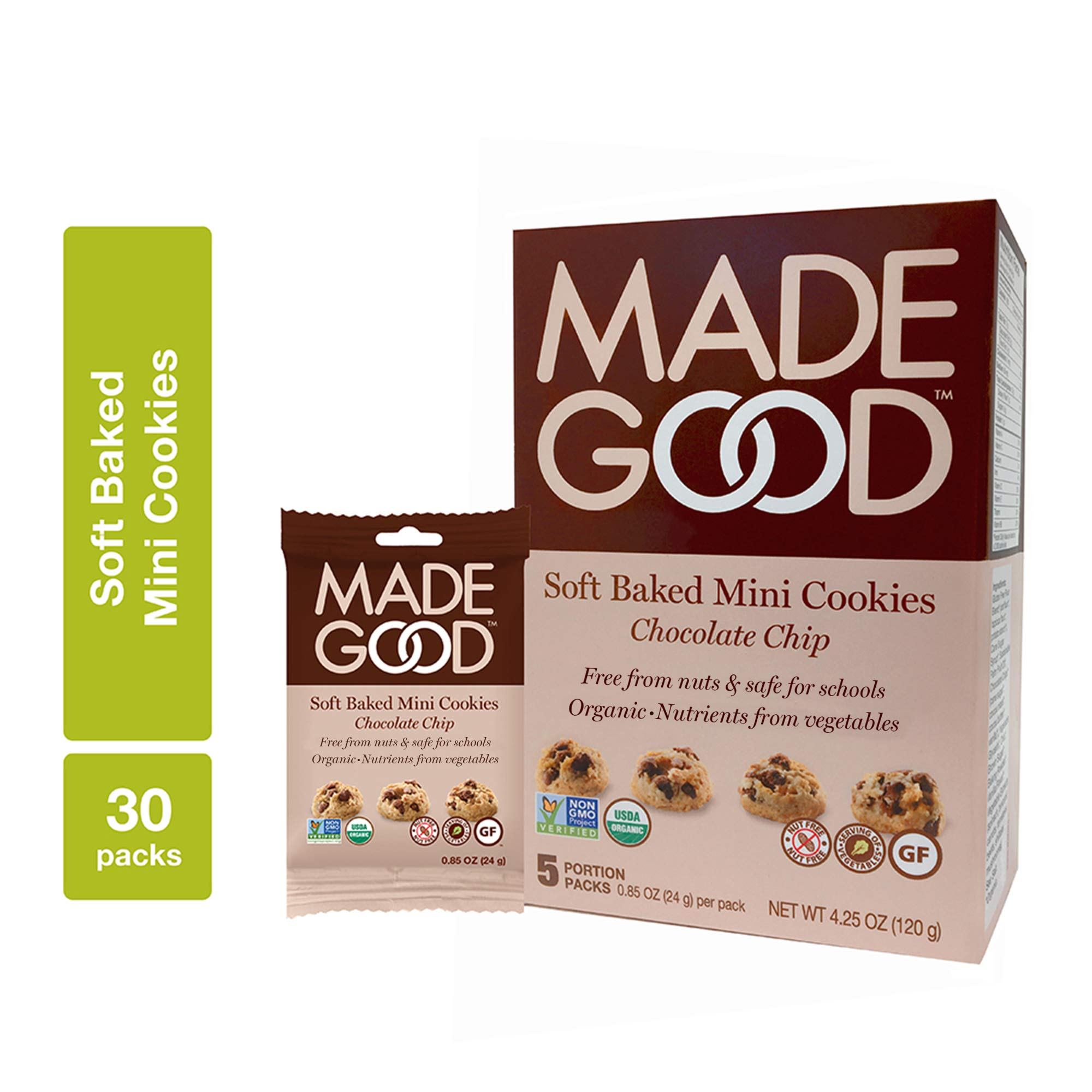 MadeGood Soft Baked Chocolate Chip Mini Cookies, 6 boxes (30 ct); Nut-Free, Gluten Free, Allergy Friendly, USDA Certified Organic, Vegan, Non-GMO Ingredients; Nutrients of a Full Serving of Vegetables by Made Good