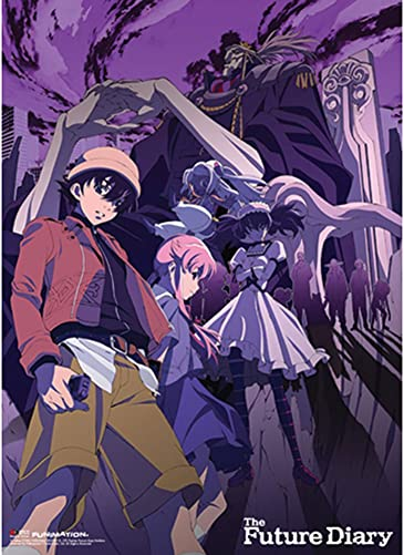 Officially Licensed Future Diary Group Purple Background Wall Scroll, 33 x 44 Inches