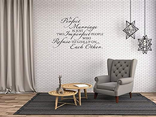 com art quote saying home a perfect marriage wall decals