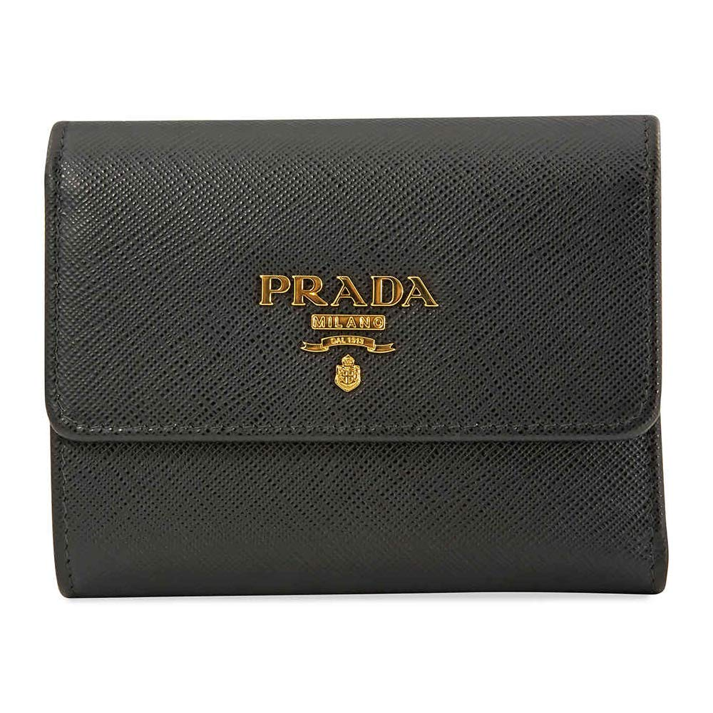 645115f2f6ac Amazon.com: Prada Black Saffiano Leather W/Metal logos Tri-fold Wallet  1MH840 Nero: Shoes