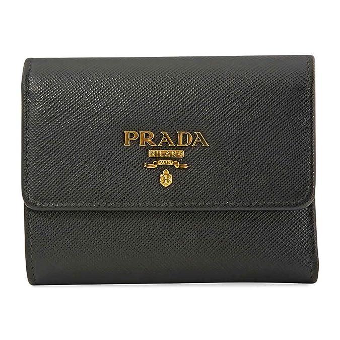 7811d22583d1cc Amazon.com: Prada Black Saffiano Leather W/Metal logos Tri-fold Wallet  1MH840 Nero: Shoes