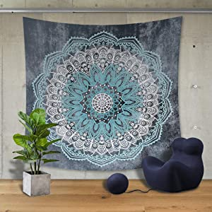Autumn Dream Indian Bohemian Psychedelic Tapestries Wall Hanging Backdrop, Mandala Blue Lotus Floral Grey Tapestry for Bedroom, Living Room,59 by 79 inch