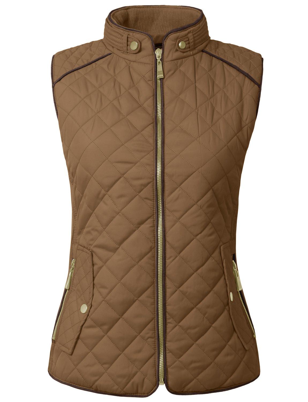 NE PEOPLE Womens Lightweight Quilted Zip Vest, Large, NEWJ40CAMEL