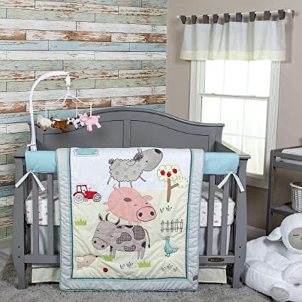 DS 4 Piece Baby Pink Grey White Farm Crib Bedding Set, Newborn Animal  Themed Nursery